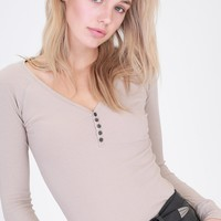 Coffee Ribbed Long Sleeve Henley (final sale)