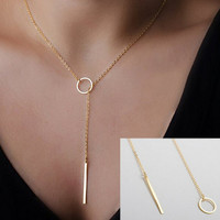 Dainty Gold Thin Circle Bar Lariat Pendant Necklace Layering Necklace