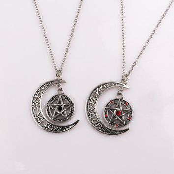 Supernatural Pentagram Charms Long Necklace Witch Protection Star Amulet Yggdrasil Life Tree Pentagram Necklaces Pendants