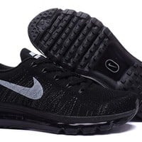 """""""Nike Air Max Flyknit"""" Unisex Sport Casual Flywire Weave Air Cushion Sneakers Couple Running Shoes"""