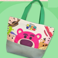 "Disney Tsum Tsum Character Toy Story Huggin Bear Woody Buzz Lightyear 9"" Tote Bag"