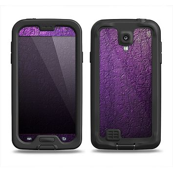 The Purpled Crackled Pattern Samsung Galaxy S4 LifeProof Fre Case Skin Set