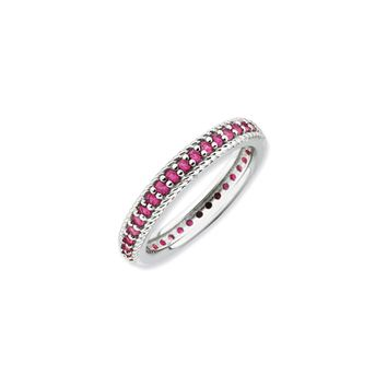 3.25mm Sterling Silver Stackable Created Ruby Eternity Ring