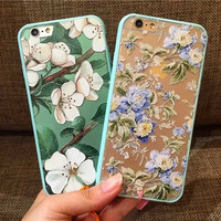 Luxury Floral Painted 3D Relief For Apple iPhone 6 iPhone6 6S 4.7 Case For iPhone 6 Beauty Flower Cell Phone Cases Cover