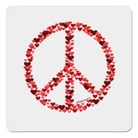 """Peace Sign Hearts Red 4x4"""" Square Sticker"""