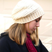Cream slouchy hat, Winter Fashion 2014, cozy hat, Fashion slouchy hat, made to order, trends fashion slouchy hat
