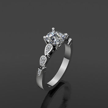 Moissanite Engagement Ring Platinum Engagement Ring with 6.5mm Round Brilliant Moissanite Ctr - V1026