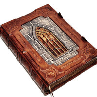 """Large leather journal, """"A tale from Transylvania"""", gothic style, with 640 pages and 7.9x11inch (20.5x28cm), in gift box."""