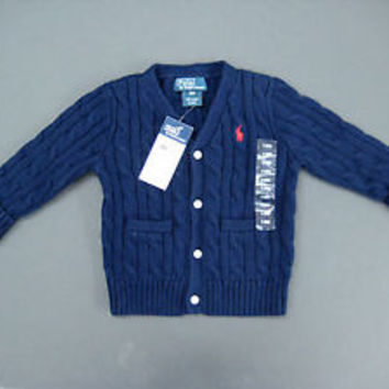 Ralph Lauren POLO Infant Boy's 2 Pocket Navy Sweater Size 12M / New With Tags