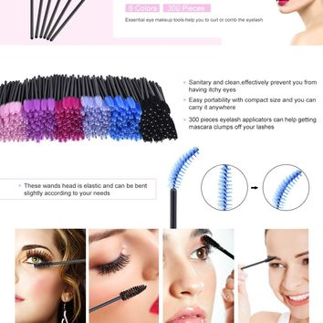eBoot 300 Pieces Multicolor Disposable Mascara Wands Eyelash Eye Lash Brush Makeup Applicators Kit, 6 Colors