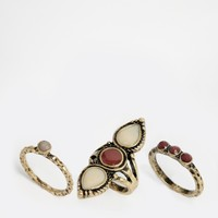 ASOS Western Stone Ring Pack at asos.com