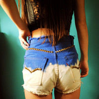 High Waist Bleached & Studded Levi Shorts
