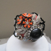 Handmade Bracelet/Jewelry/Cuff/Collage/Upcycled/Repurposed/Assemblage/Vintage Jewelry/Clearance/OOAK/Was 50.00, Now 35.00