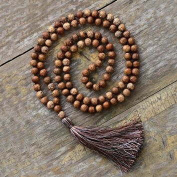 108 Beads Mala Necklace 8MM Vintage Oynx Soft Tassel Necklace Women Lariat Meditation Yoga Necklace Dropshipping Jewelry