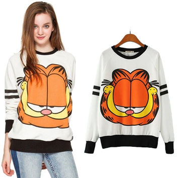 Lovely Preppy White Long Sleeves Round Neck Garfield Printed Pullover Fleece Leisure Loose Sports Sweatershirts = 5617106241