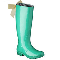 Green Rain Boot with Ivory Bow