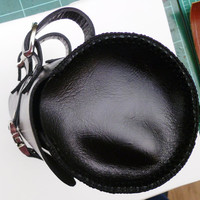round tool bag bicycle leather satchel handmade black