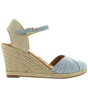 Me Too Brenna - Cream/LightBlue Stripe Fabric Espadrille Wedge Sandal