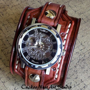 Steampunk Leather Wrist Watch, Skeleton Men's watch, Leather Cuff, Bracelet Watch, Watch Cuff, Mens Gift, Mechanical, Chocolate Cherry