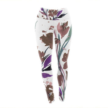 "Ebi Emporium ""Pocket Full Of Posies Brown"" Beige White Yoga Leggings"