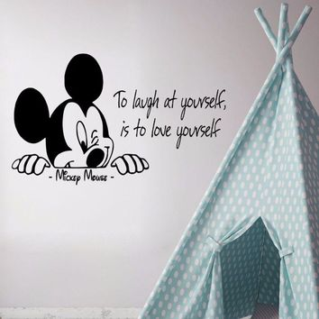 Mickey Mouse Wall Decal Quote To Laugh at Yourself Decal Removable Home Vinyl Art Nursery Home Decor Words Wall Sticker AY0284