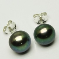 7 mm Black Pearl Stud Earrings Sterling Silver Posts Handmade