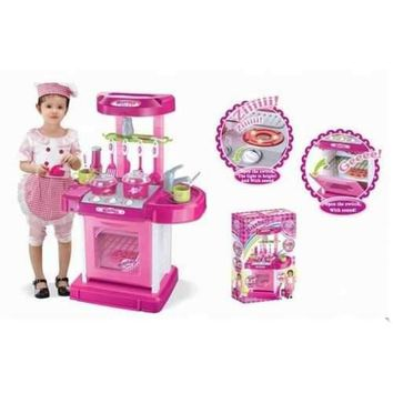 """26"""" Portable Kitchen Appliance Oven Cooking Play Set w/ Lights & Sound (Pink) TF858"""