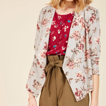 Marketing Maven Blazer in Grey Floral | Mod Retro Vintage Jackets | ModCloth.com