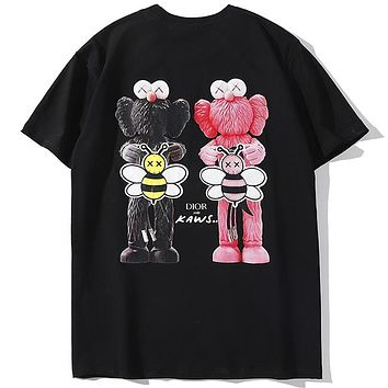 DIOR 2019 new back double doll doll big bee letter print short-sleeved T-shirt Black
