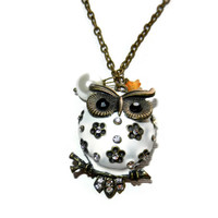 Owl and Floral Brass Charm Necklace