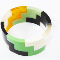 Modernist Lucite Bangle Bracelet, Geometric Stair Steps, Green, Black, Gold Tone, White & Clear, Vintage 1960's 1970's MOD Era Jewelry