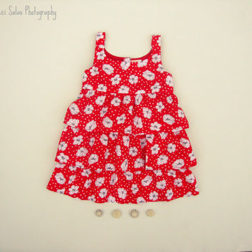 Poppies and Polka Dots dress w/ ruffled tiers, currently available in size 2T, also made to order in sizes newborn-4T by One Last Stitch