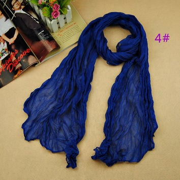 2016 women's fashion solider color blue black winter warm scarf soft Plain Cotton Women Scarves Shawls Muslim Hijabs Long Scarf