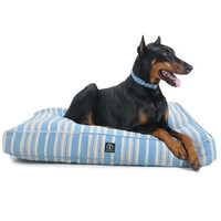 Personalized Classic Stripe Rectangle Dog Bed | Blue