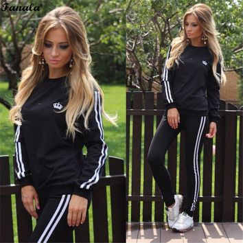 FANALA Tracksuit Women Two Piece Set 2017 Spring Autumn Suits The Feminine Full Sleeve O Neck Top And Full Length Pants Women