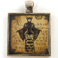 Devil Woman Pendant - Victorian Bat Woman, Sepia Brown Oddity Curiosity Silver Resin Jewelry