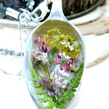 Real Flower Jewelry, Spoon Pendant Necklace with Pressed Flowers, Fern Jewelry, Nature Inspired, Botanicals in Resin, Plant Necklace