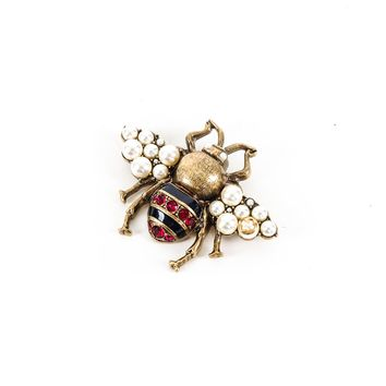Gucci Gold Crystal & Pearl Bee Brooch