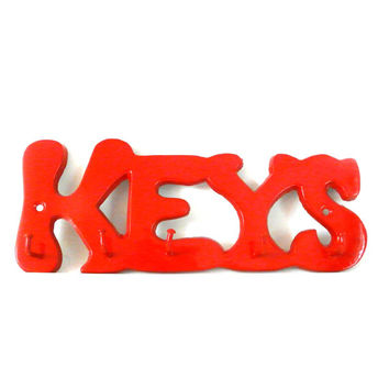 vintage key rack, wall hooks, red, retro, vintage metal organizer, upcycled home decor