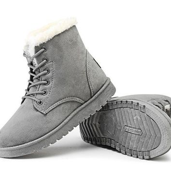 Women's Soft Suede Lace Up Winter Ankle Boots