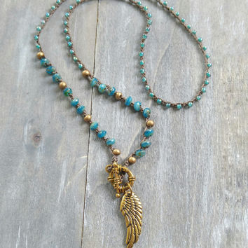 Angel wing pendant necklace, boho feather necklace, triple wrap bracelet, long beaded necklace, long and layered, bohemian inspired, boho