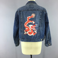 Denim Jean Jacket with DRAGON Embroidery / Embroidered Jacket / Size Large XL XXL Plus