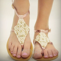 Pearly Pink Foil Sandals
