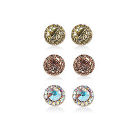 River Island Womens Mixed rhinestone stud earrings pack