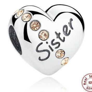 2016 New Trendy 925 Sterling Silver Sister Floating Heart Charm fit PANDORA Bracelet