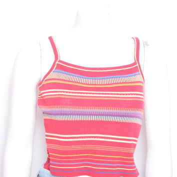 Vintage Cute Multi Colored Striped Spaghetti Strap Cropped Tank Top
