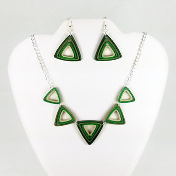 Green Earrings and Necklace Jewelry Set, Green Triangles Paper Jewelry - paper quilling jewelry, statement necklace, art deco green necklace