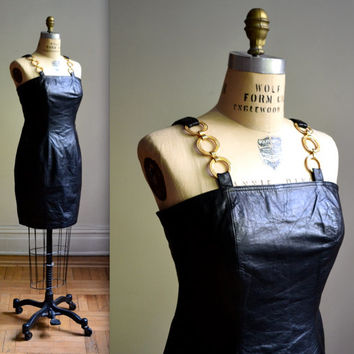 90s Black Leather Dress Size Medium// Vintage Black Leather Dress Body Con Medium