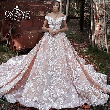 Vestido de Novia Pink Ball Gown Wedding Dresses 2016 Vintage Arabic Off the Shoulder 3D Floral Lace Flowers Luxury Bridal Gown