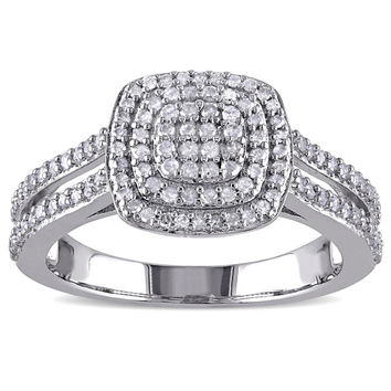 Haylee Jewels Sterling Silver 1/2ct TDW Diamond Halo Ring (H-I, I2-I3) | Overstock.com Shopping - The Best Deals on Diamond Rings